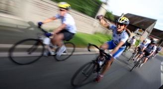 Cyclists riding the London to Nice Cycle